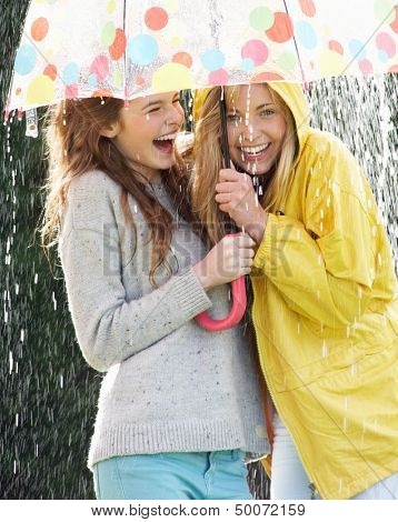 Two Teenage Girl Sheltering From Rain Beneath Umbrella