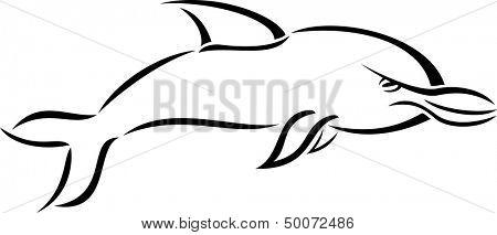 Schwarz und weiß Cartoon Stil Delfin