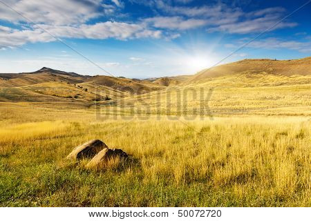 The waste ground between Georgia and Azerbaijan, Kakhetia, David Gareja region, Georgia, Europe. Caucasus. Beauty world.