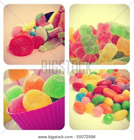 a collage of four pictures of different candies, such as jelly beans, gumdrops or gummy bears, with a retro effect