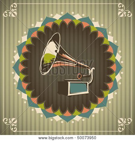 Vintage illustration with gramophone. Vector illustration.