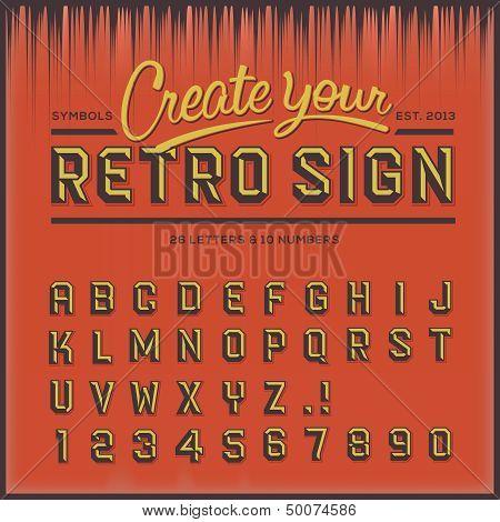 Fuente tipo retro, vintage tipografía