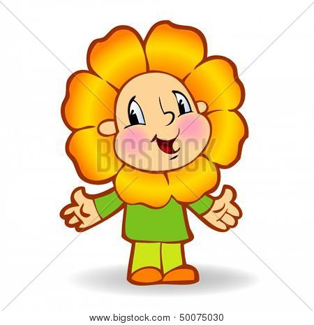 Little boy is dressed in a carnival costume of a flower