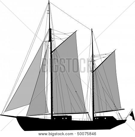 Vector illustration of two masted sailing ship ketch