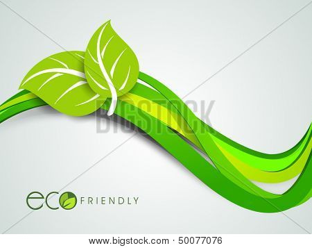 Abstract nature background with green leaves on wave background.