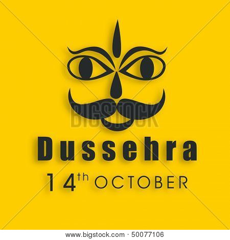 Indian festival Dussehra concept with illustration of Ravana face on yellow background.