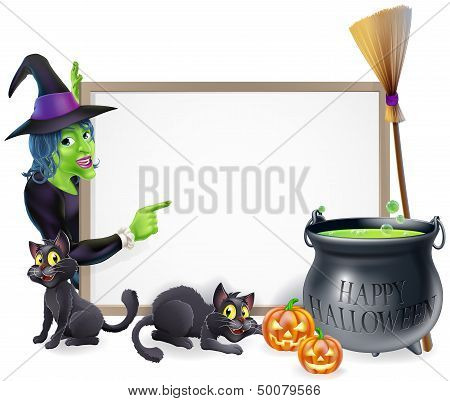 Cartoon Witch Halloween Sign
