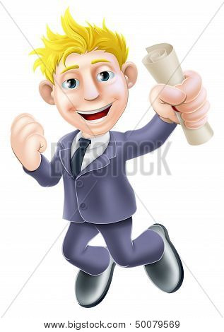 Jumping Businessman And Scroll
