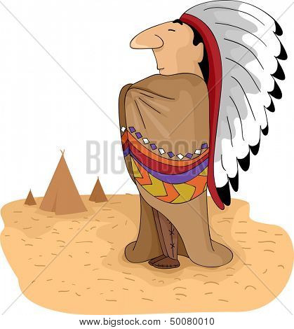 Illustration of a Native American Tribal Chief Standing with His Arms Akimbo