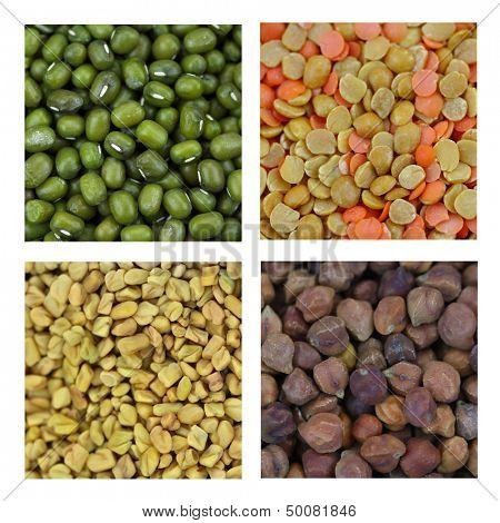 Different lentils and Fenugreek seeds