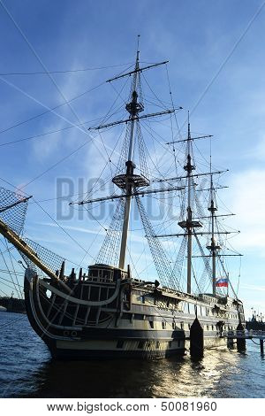 Old Frigate In St.petersburg, Russia