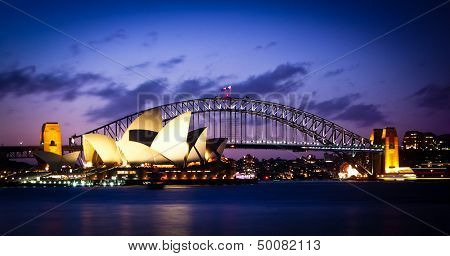 SYDNEY, AUSTRALIA - SEPT 1 : Sydney's most famous icons, the Sydney Opera House and Harbour Bridge  The Opera House celebrate its 40th anniversary in 2013 - September 1, 2007in Sydney, Australia.