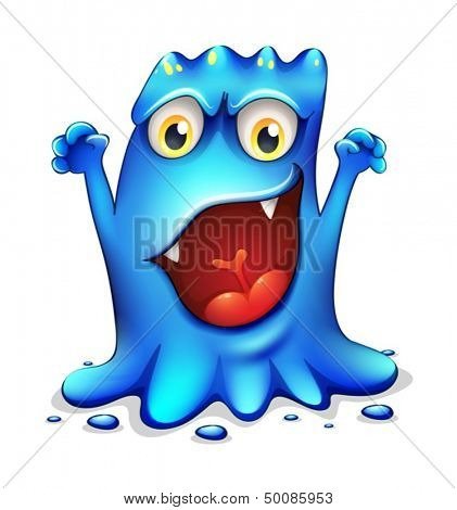 Illustration of a very angry blue monster on a white background