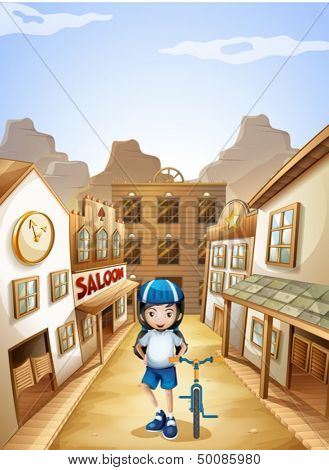 Illustration of a girl standing in the middle of the saloon bars with her bike