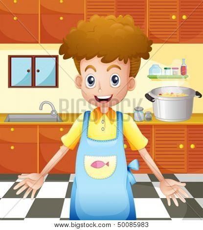 Illustration of a smiling chef in the kitchen