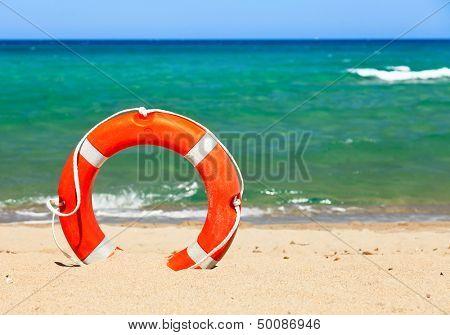Life buoy on a beach