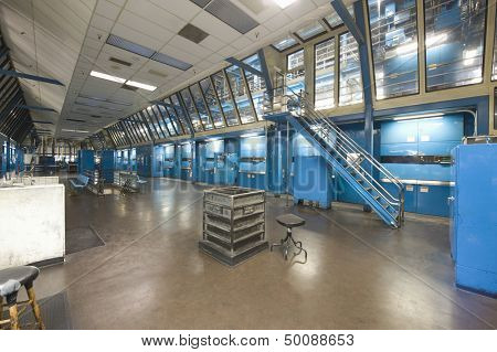 Interior view of a spacious newspaper factory