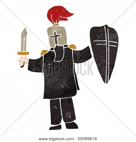 retro cartoon medieval black knight