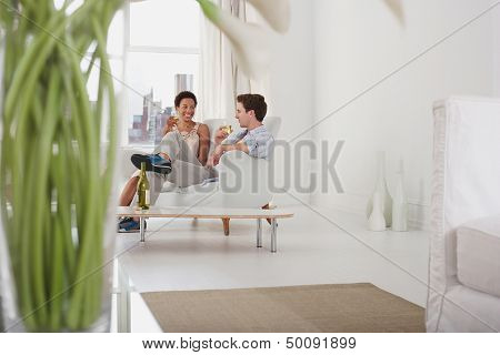 Young multiethnic couple drinking wine in living room at home