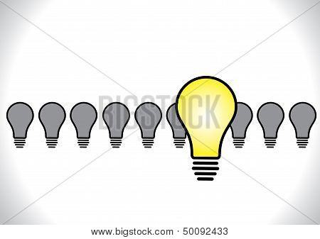 Concept Design Vector Illustration Of Idea Leadership Or Selected Idea Bright Yellow Glowing Light