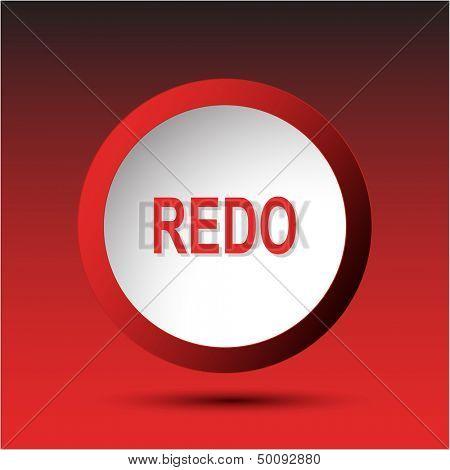 Redo. Plastic button. Vector illustration.