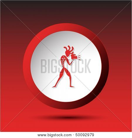 Ethnic little man with camera. Plastic button. Vector illustration.