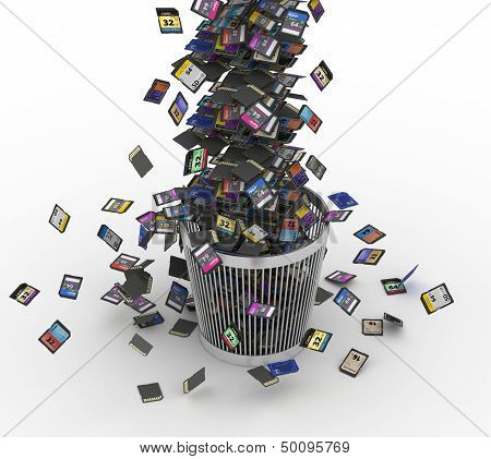 SD and microSD memory cards flow on trashcan