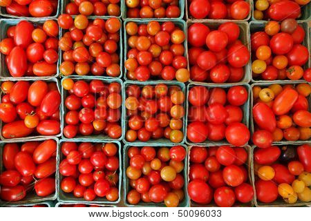 Fresh organic tomatoes in farmer's market