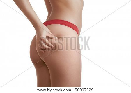 woman booty in panties isolated on white background