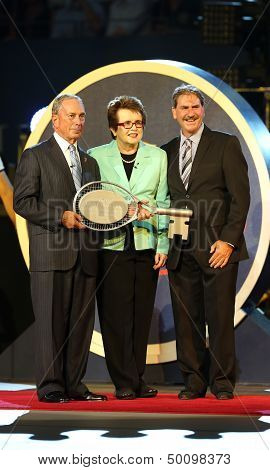 New York Mayor Michael Bloomberg,  Billie Jean King and USTA ChairmanDave Haggerty at US Open 2013