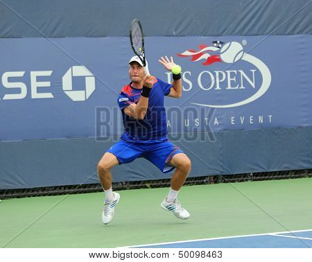 Tennis player Andreas Haider-Maurer from Austria during his first round match at US Open 2013