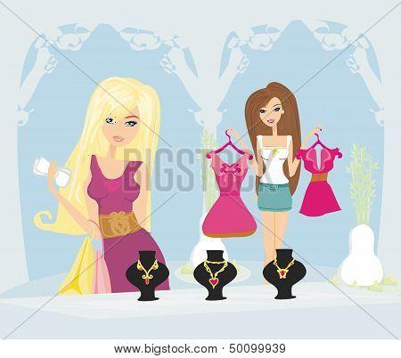 Two Fashionable Women Shopping