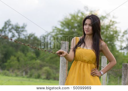 Young Woman Portrait At Barbed Fence