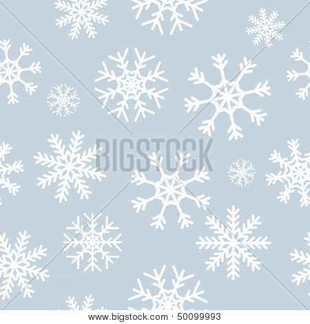 White snowflakes on gray background