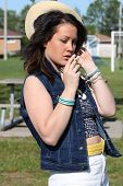 Brunette with Unlit Cigarette