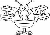 Black And White Pudgy Bee Cartoon Mascot Character Training With Dumbbells