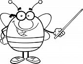 Black And White Pudgy Bee Cartoon Character With Glasses Holding A Pointer