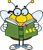 Pudgy Bee Cartoon Character With Glasses Reading A ABC Book