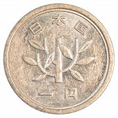 foto of japanese coin  - one japanese yen coin isolated on white background - JPG