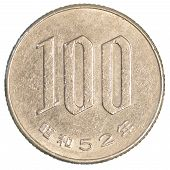 picture of japanese coin  - 100 japanese yens coin isolated on white background - JPG