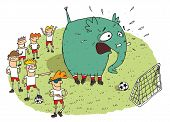 picture of snickers  - Group of youngsters making fun of an elephant on a soccer field - JPG