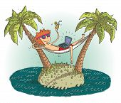 stock photo of deserted island  - Global village cartoon with satisfied teenager on deserted island - JPG