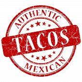 picture of tacos  - Tacos Red grunge stamp on white background - JPG