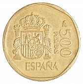 picture of spanish money  - 500 spanish pesetas coin isolated on white background - JPG