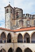 stock photo of templar  - Majestic medieval castle of Templars and belltower - JPG