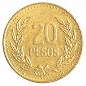 stock photo of colombian currency  - 20 Colombian pesos coin isolated on white background - JPG