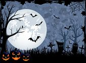 stock photo of jack-o-lantern  - Grunge Halloween night background with Jack O - JPG