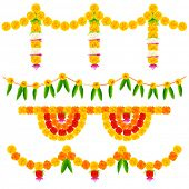 image of ganpati  - illustration of colorful flower arrangement for festival decoration - JPG