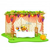 stock photo of sukkot  - vector illustration of decorated sukkah for celebrating Sukkot - JPG