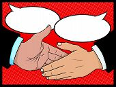 pic of 1950s style  - Pop Art Style Vector illustration of two business people coming to an agreement with a handshake - JPG
